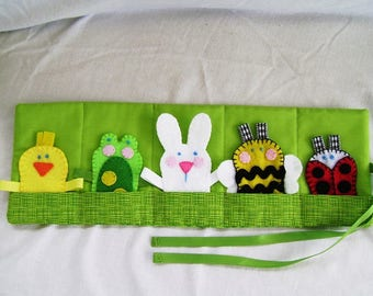NEW!  Animal Finger Puppets, Felt Finger Puppets, Roll-up Puppets and Case, Rabbit, Frog, Chick Finger Puppets