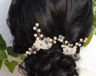 White Lucite Pearl and Crystal Bridal Hairpins set of two