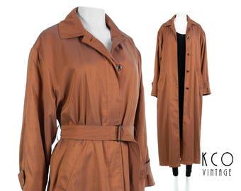 Iridescent Trench Coat Shiny Raincoat Belted Trench Coat Duster Jacket 80s Clothing Copper Minimalist Vintage Clothing Women's Size MEDIUM