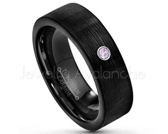Pipe Cut Black Tungsten Ring, 0.07ct Amethyst Ring, 7mm Black IP Tungsten Wedding Band, February Birthstone Ring, Comfort Fit Ring TN232BS