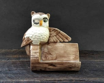 Owl Business Card Holder - Ceramic Brown Owl - Vintage Scioto Ceramic Products - Seventies and Eighties Office