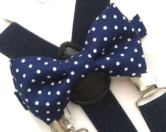 Navy Blue Bowtie/White Polka Dot/Navy Suspenders Set. Navy Bow Tie Set!