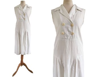 1920s White Tennis Style Day Dress