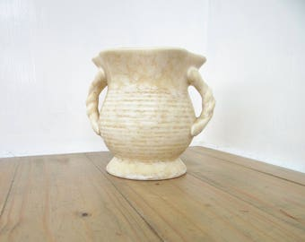 Vintage Urn Vase with Twisted Handles, Marbled Cream and Tan Glaze No. 439. Made in England Circa 1930s