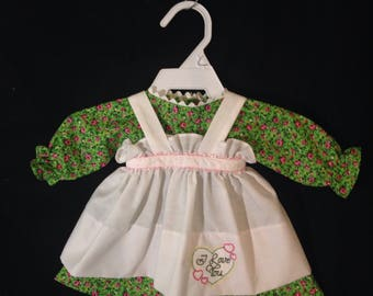 Dress and Apron for 20 inch Raggedy Ann doll,Green dress with pink flowers, Embroidered Apron, Optional Personalization