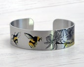 Bee cuff bracelet, insect jewellery, brushed silver metal bangle with bees. Bumble Bee, Honey Bee gifts for her.  B533