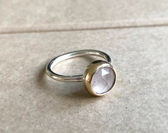 Rose quartz rose cut set in 9ct yellow gold and silver ring stacking ring