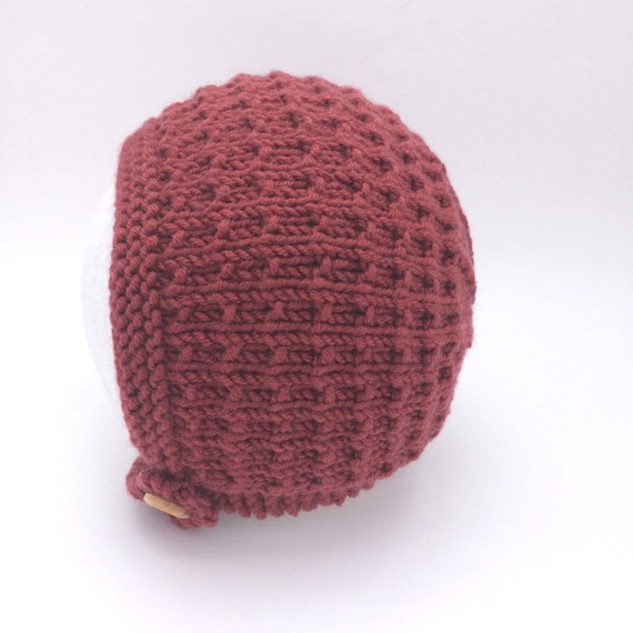 Tibbie Baby Bonnet in Rust Merino Wool - Sizes newborn to Age 4 years
