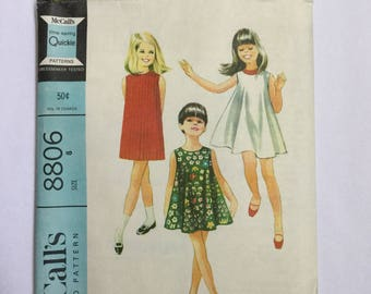 """Vintage 60s McCalls 8806, Girls Sleeveless Shift, Tent Dress, Sewing Pattern, Vintage Size 8, B 26"""", 2 Styles, 1 Pattern Cut, Complete, 1967"""