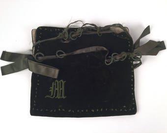 Vintage 1910s Green Velvet Pouch, Monogrammed Velvet Bag, Vintage Evening Bag, Antique Dance Purse, Hand Embroidered Monogram, Ribbon Trim