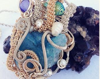 Crystal Reef Druzy Wireart Pendant