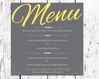 Stylish Wedding Menu