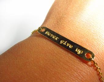 Engraved Bar Bracelet, Never Give Up