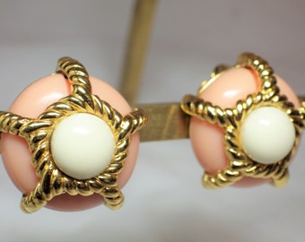 1990s Vintage Earrings REPLICA Made in Italy Clip On Pink Gold White