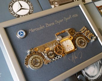 Mercedes Benz 1928 Code M 155, Steampunk Art, Gifts for Men, Luxury Gift, Wedding Gift, Office Decor, Home Decor, Wall Art, Christmas gifts