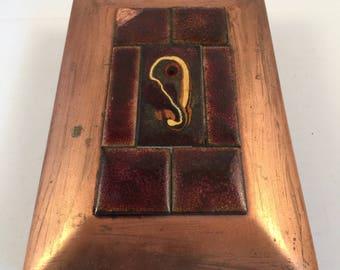 Arts and Crafts Copper and Enamel Box by M Barthel of Santa Rosa CA