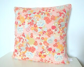 "Pillow cover ""Japanese spring flowers, pastel pink piping and white cotton"""