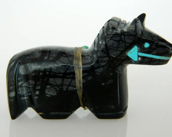 Native America Navajo Picasso Marble Turquoise Horse Fetish Signed Stewart Alonzo