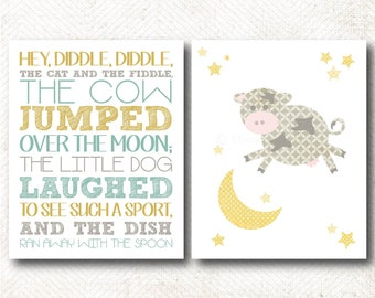 Hey Diddle Diddle, The cow jumped over the moon, Nursery Rhyme, Art Print Set