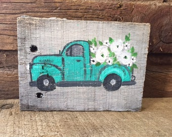 Mini wood paintings •  Vintage Truck painted on Wood • Tiny Truck • Home Decor • Farmhouse Truck mini art