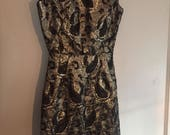 Vintage Metallic Gold & Black Cocktail Dress 1950s-1960s - Pinup / Madmen