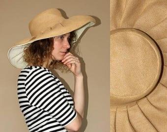 ON SALE 90's vintage braided straw sun garden hat