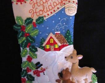 "Bucilla Woodland Holidays 18"" - Completed"