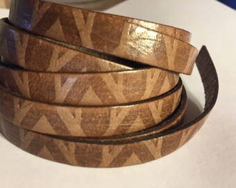 """Discounted: 24"""" 10mm Flat Leather Cord, High Quality Italian Designer Embossed V Style Brown, Bracelet Finding, Jewelry Craft Supplies"""