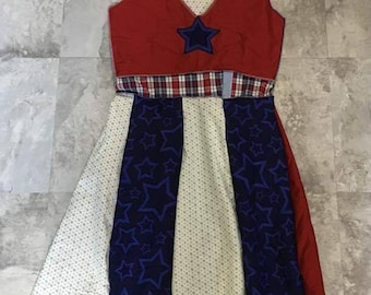 Patriotic upcycled dress size 0-2