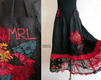 M/XL Black Gypsy Skirt Boho Chic Skirt Recycled Clothing Shabby Chic Skirt Boho Hippie Skirt Long Lace Skirt Lagenlook Skirt Free People