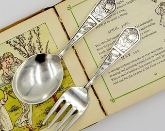 Vintage STERLING BABY SET Sterling Silver Little Boy Blue Nursery Rhyme Sterling Silver Baby Fork & Spoon Set Rogers