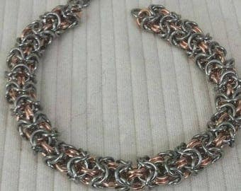 Stainless Steel & Copper Turkish Round Chain Maille Bracelet Handcrafted by Me