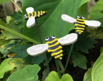 3 Ceramic Bumble Bee Garden Stakes, Garden Stakes,Potted Plants, Great Gift,