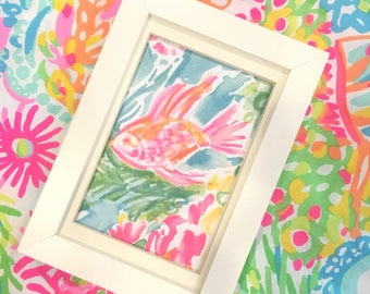 Lilly Pulitzer Lover's Coral catalog print! Fish!  Picture Frame is a 6 x 8!!