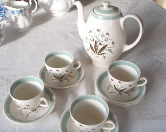 Vintage Alfred Meakin Coffee Set English China Hedgerow Pattern 1950's