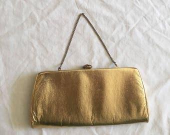 FLASH SALE Vintage 1960's Gold Metallic Clutch/Purse