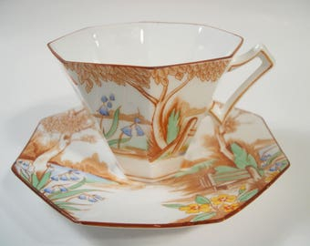 Rare Melba Tea Cup and Saucer, Hand Painted tea cup and saucer set, 1920's Teacup and Saucer.