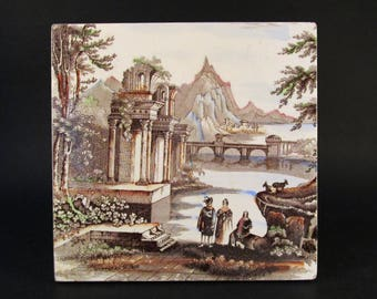 Antique Victorian Brown Transferware Tile, Italianate Ruins Scene Design, Hand Tinted, 6 x 6 Inches, Porcelain, 1800s