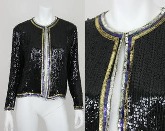 Vintage Sequin Jacket Black Gold Silk Size Small