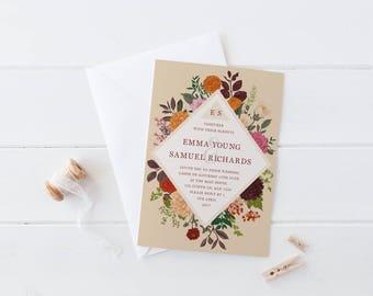 DIY Printable Beige Woodland Botanical Floral Wedding Invitation   Details   RSVP   Save the Date + More Available on Request
