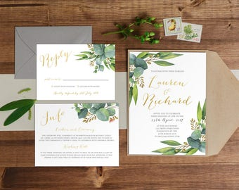 DIY Printable Watercolour Eucalyptus Leaves / Floral Wedding Invitation | Details | RSVP | Save the Date + More Available on Request