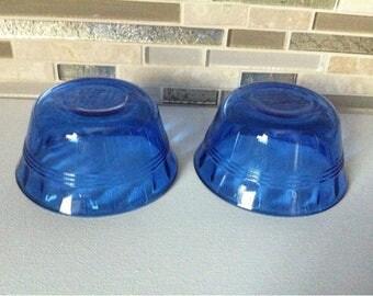 Set of 2 Cobalt Blue Glass small bowls PUREX made in U.S.A.