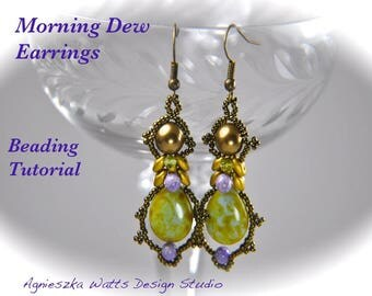 Morning Dew earrings beading tutorial PDF pattern instant download