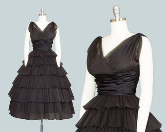 Vintage 1950s Dress | 50s Black Organza Party Dress Fortuny Pleated Tiered Full Skirt Cupcake Evening Gown by RAPPÍ (small)