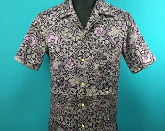 Kimono Hawaiian shirt, embossed, Men, US size S