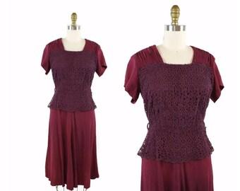 1940s Maroon Crochet Overlay Dress / 40s A Line Peplum Dress / Rayon Vintage Dress