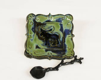 Midnight Moose Spoon Rest, Ring Holder, Ceramic Soap Dish