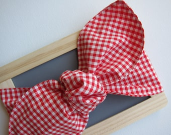 Hair Scarf - Red Bow - Bandana - Check - Gingham - Hair Accessories - Womens Headband - Vintage Inspired - top knot headband - country girl