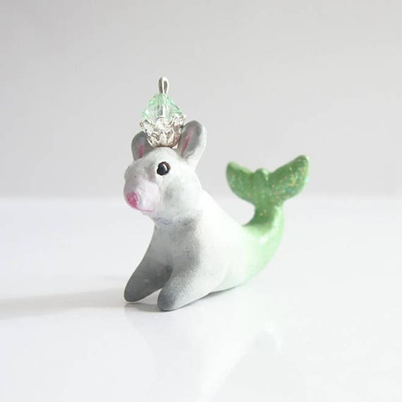 KING OF MERMICE - Handmade Polymer Clay Sculpture With a Swarovski Crystal