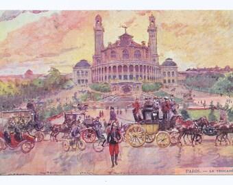 Artist-Signed Trocadero, Paris Postcard, c. 1910